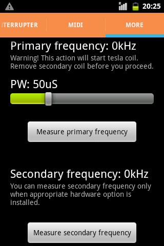 Экран измерения частот